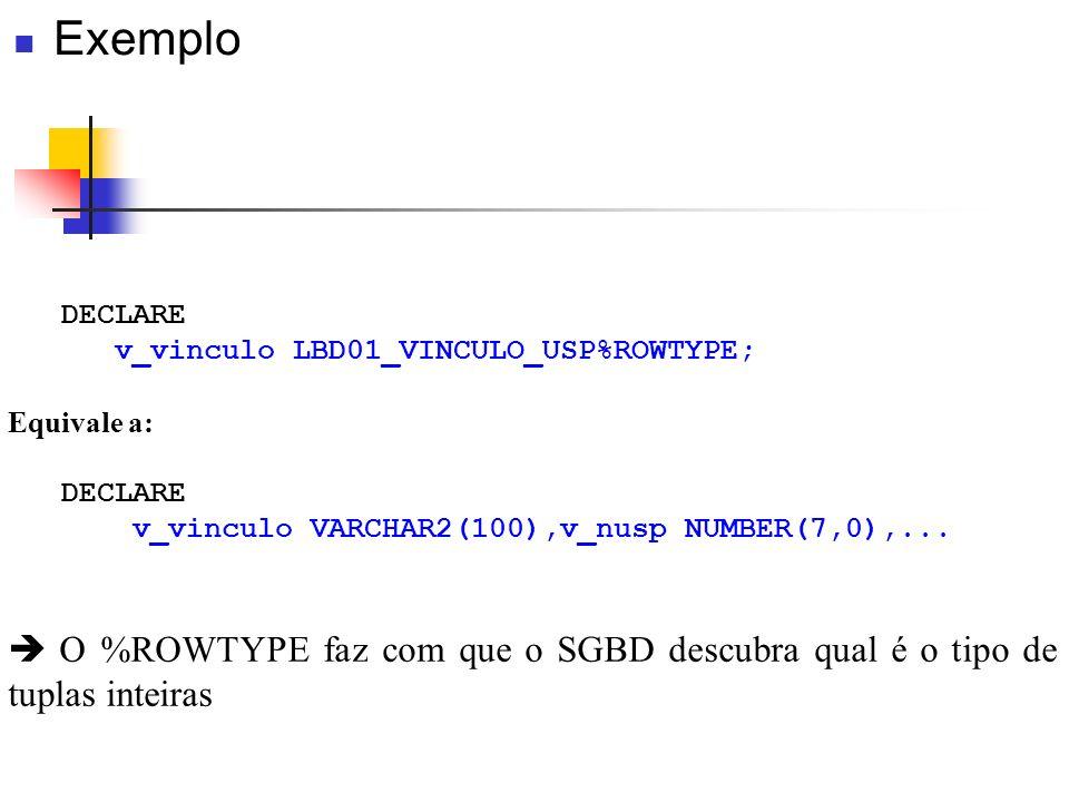 Exemplo DECLARE. v_vinculo LBD01_VINCULO_USP%ROWTYPE; Equivale a: v_vinculo VARCHAR2(100),v_nusp NUMBER(7,0),...