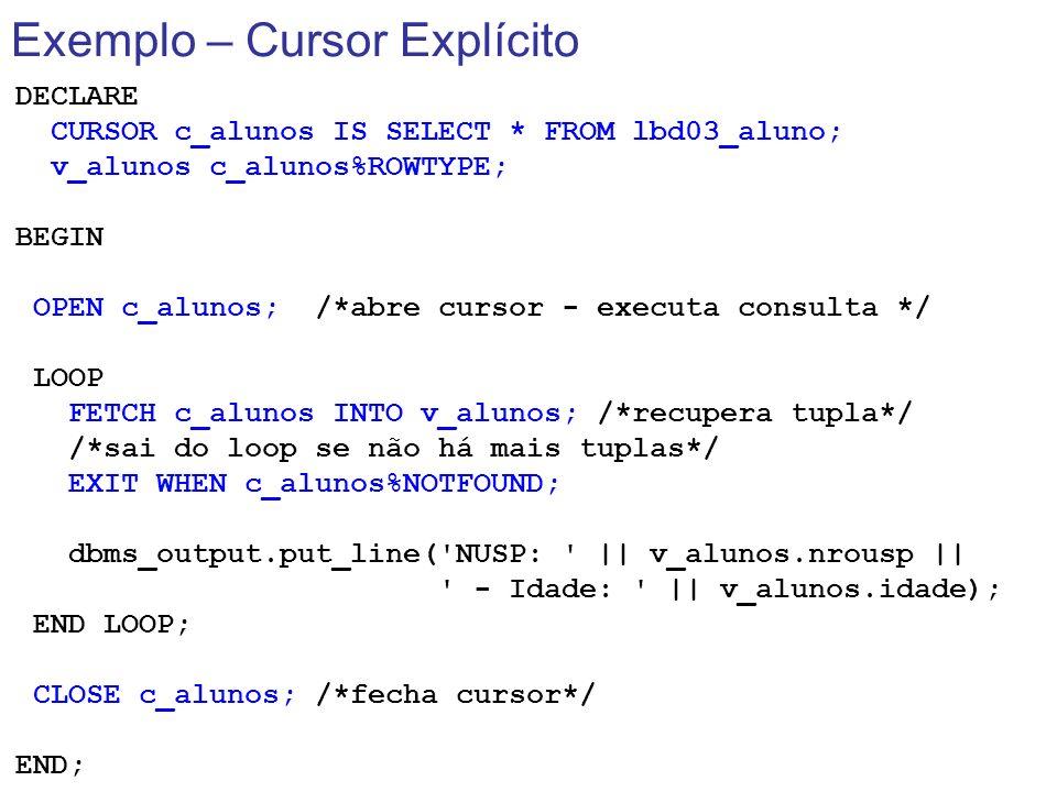 Exemplo – Cursor Explícito