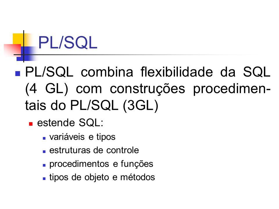 PL/SQL PL/SQL combina flexibilidade da SQL (4 GL) com construções procedimen-tais do PL/SQL (3GL) estende SQL: