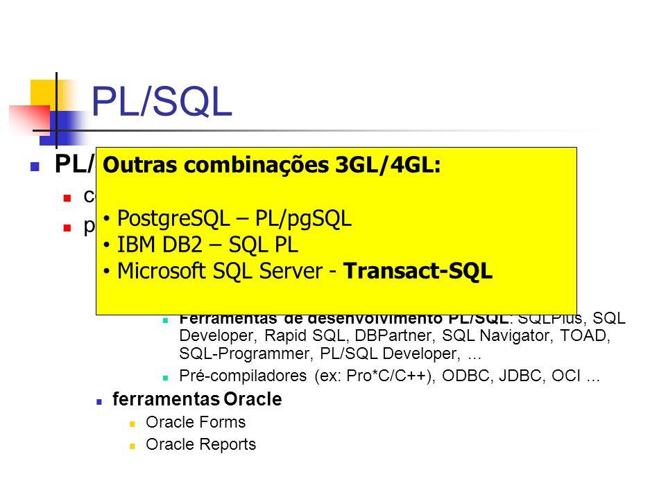 PL/SQL PL/SQL engine  tecnologia Outras combinações 3GL/4GL: