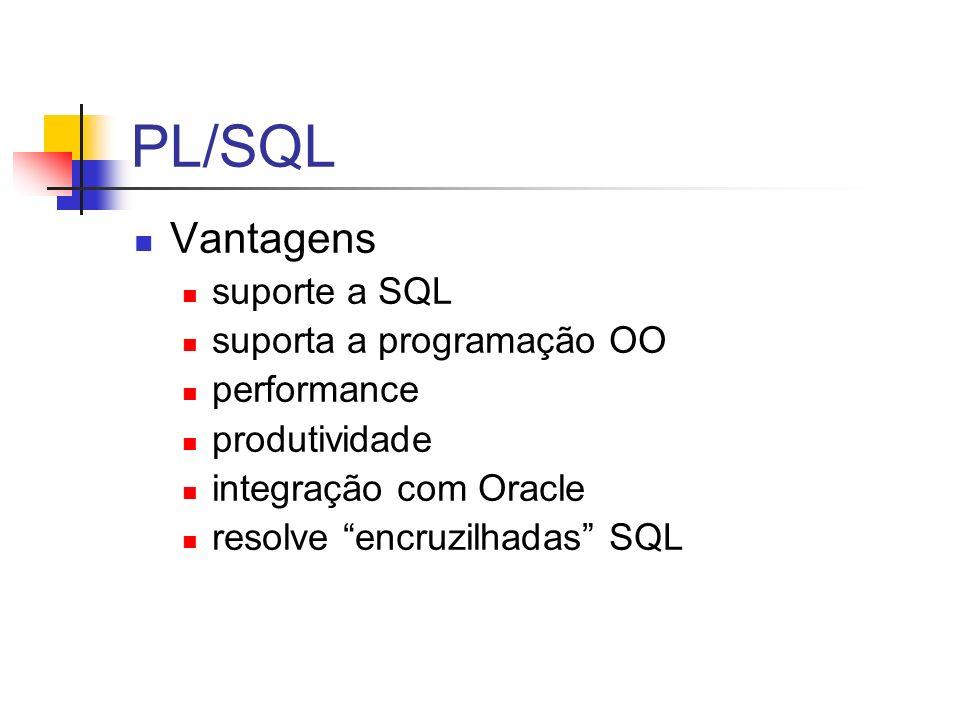 PL/SQL Vantagens suporte a SQL suporta a programação OO performance