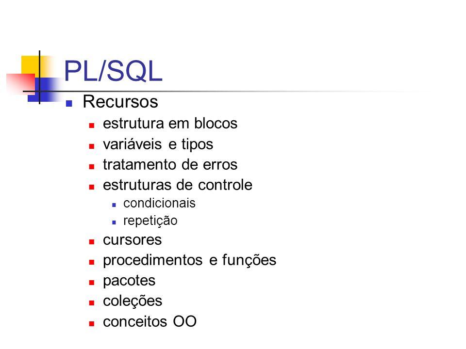 PL/SQL Recursos estrutura em blocos variáveis e tipos