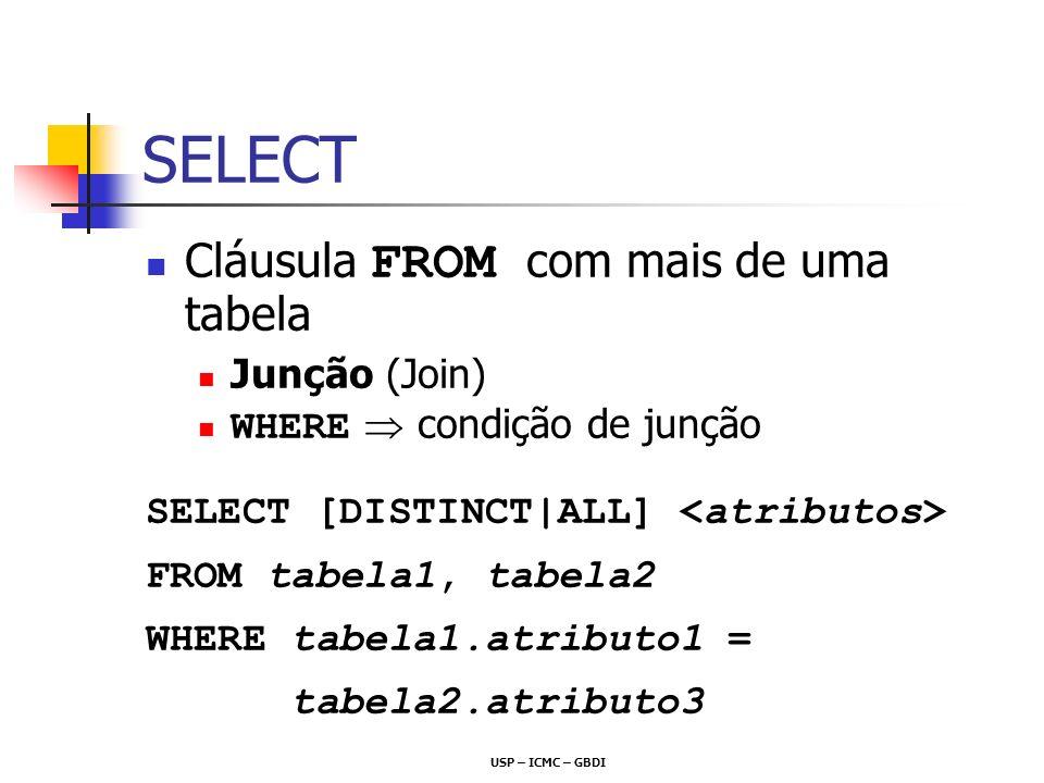 SELECT Cláusula FROM com mais de uma tabela Junção (Join)