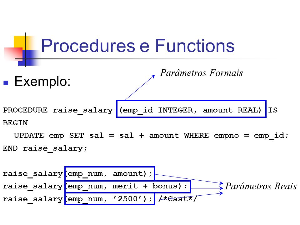 Procedures e Functions