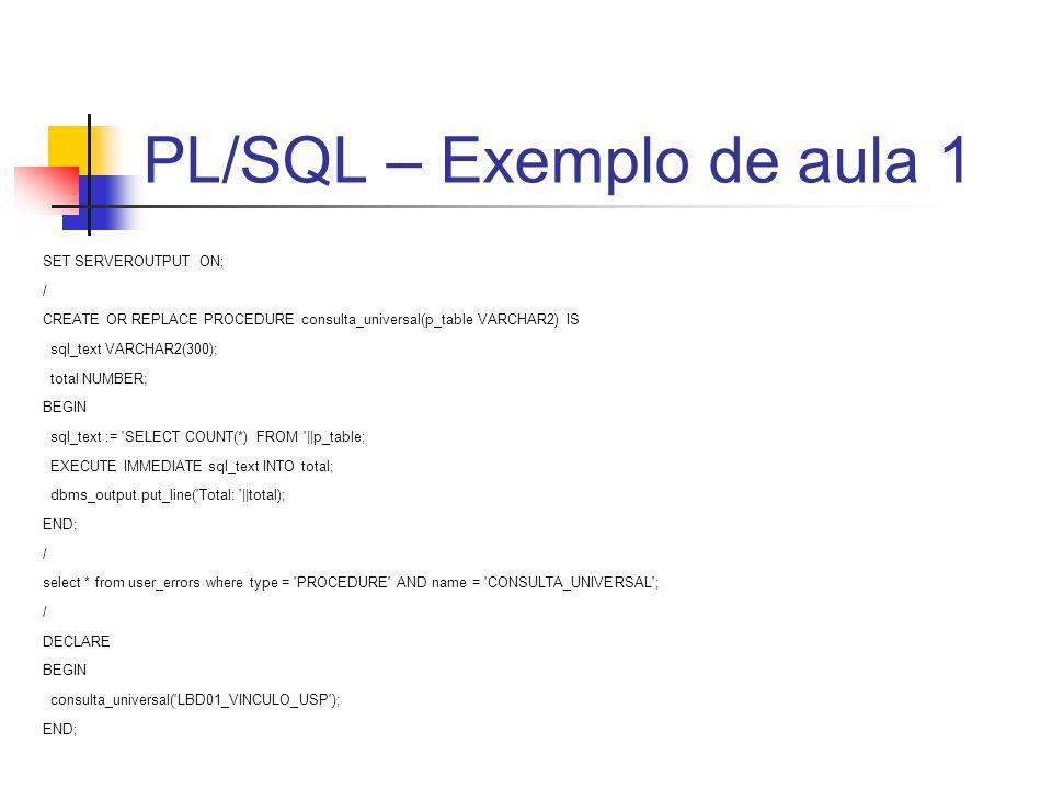 PL/SQL – Exemplo de aula 1