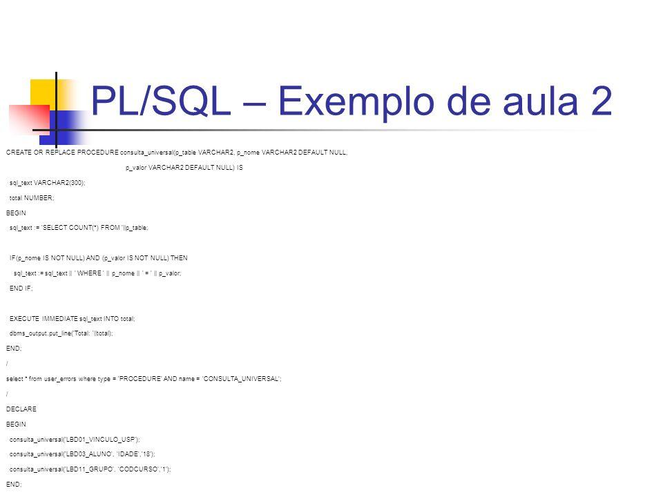 PL/SQL – Exemplo de aula 2