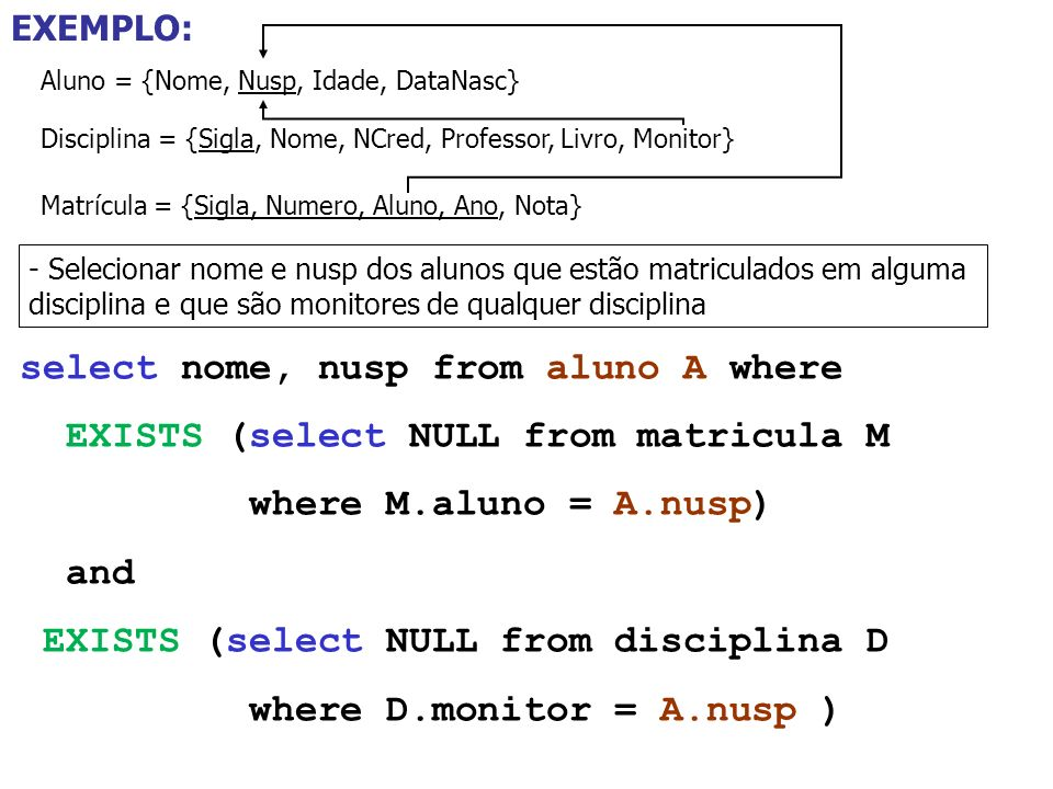 select nome, nusp from aluno A where