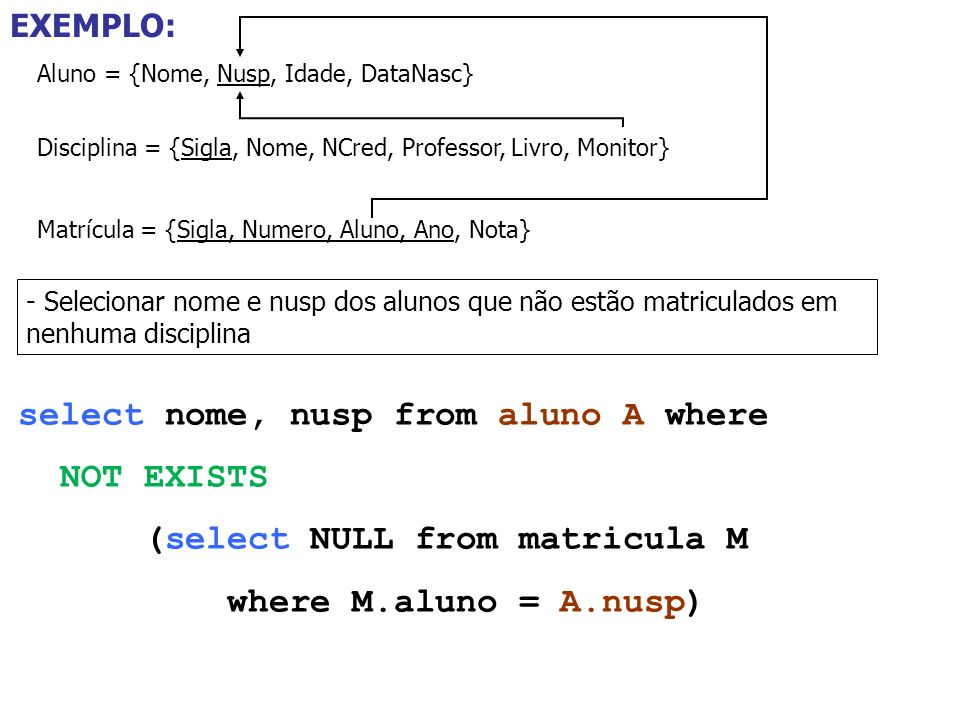 select nome, nusp from aluno A where NOT EXISTS