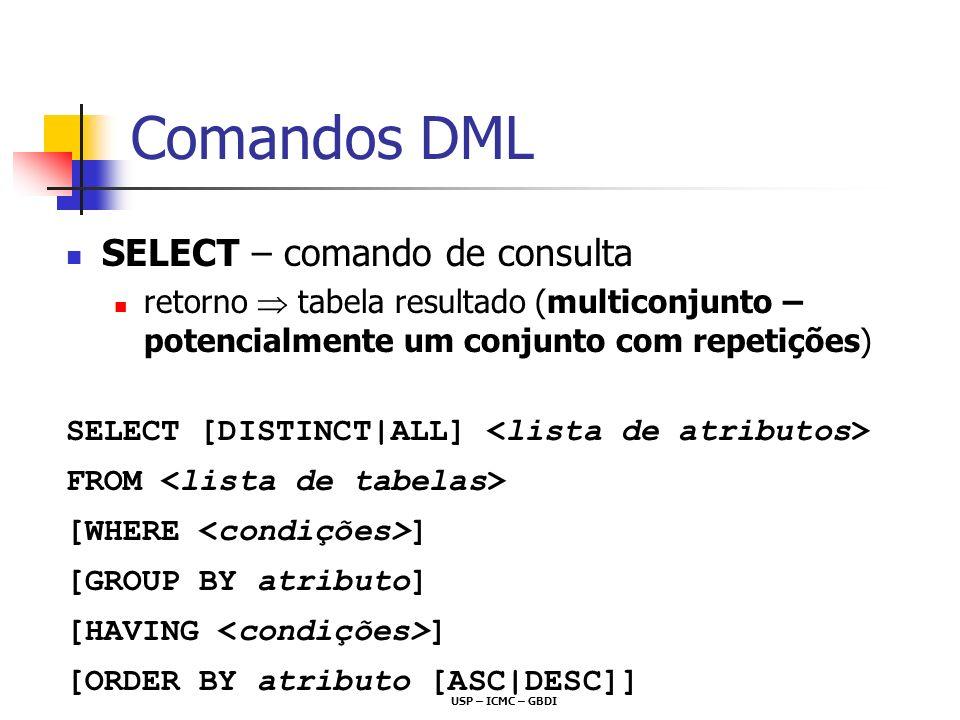 Comandos DML SELECT – comando de consulta