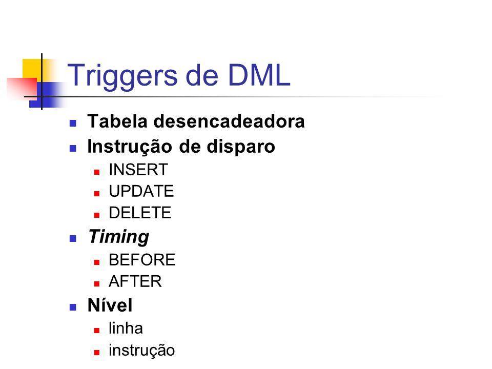Triggers de DML Tabela desencadeadora Instrução de disparo Timing