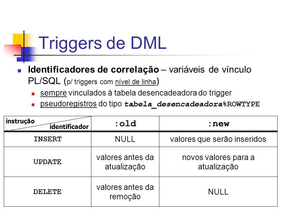 Triggers de DML Identificadores de correlação – variáveis de vínculo PL/SQL (p/ triggers com nível de linha)