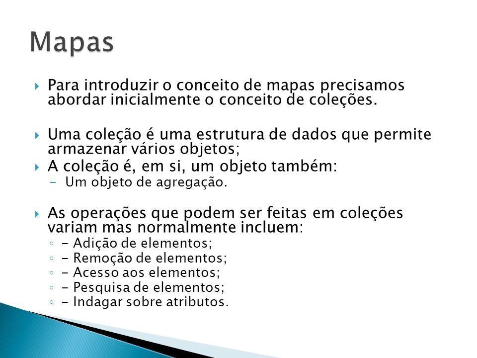 Mapas Para introduzir o conceito de mapas precisamos abordar inicialmente o conceito de coleções.