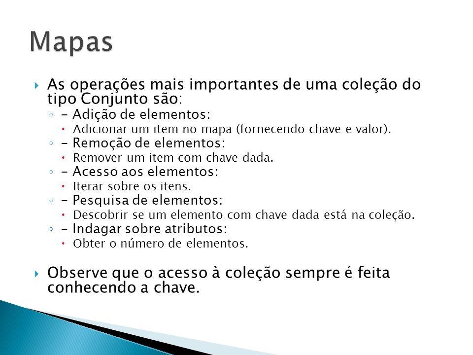 MapasAs operações mais importantes de uma coleção do tipo Conjunto são: - Adição de elementos: