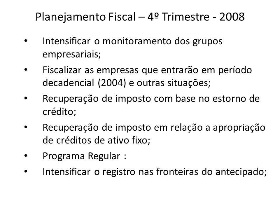 Planejamento Fiscal – 4º Trimestre - 2008