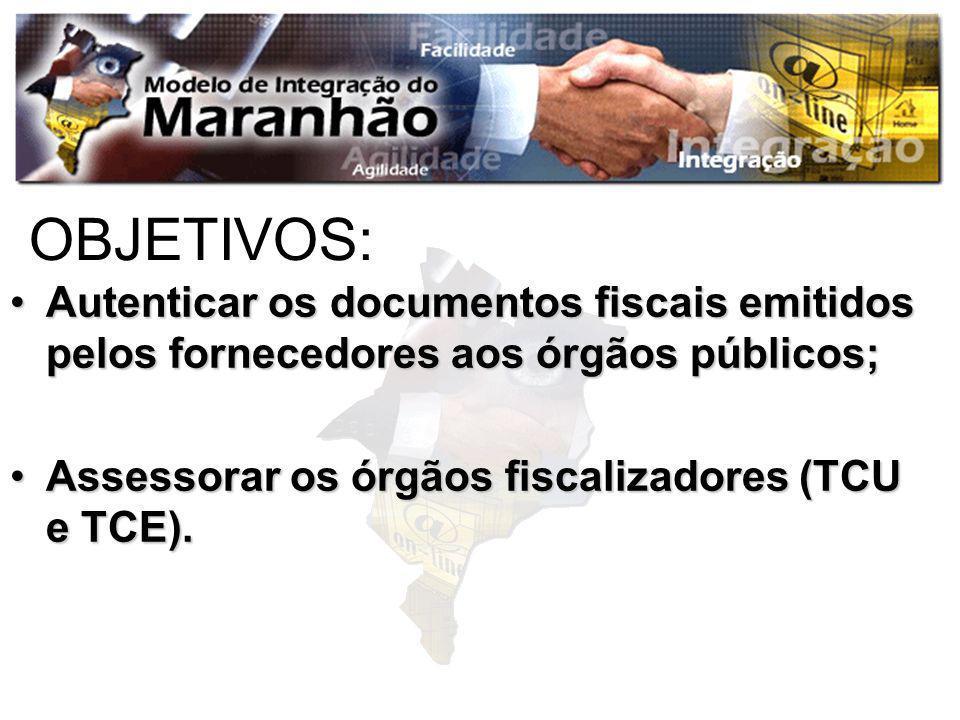 OBJETIVOS:Autenticar os documentos fiscais emitidos pelos fornecedores aos órgãos públicos; Assessorar os órgãos fiscalizadores (TCU e TCE).