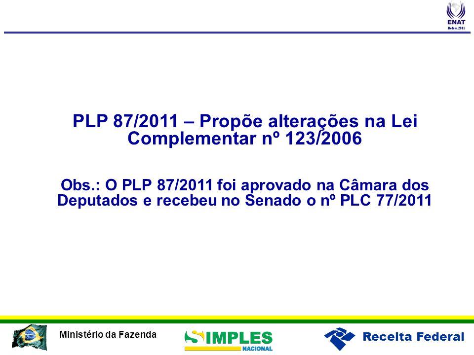 PLP 87/2011 – Propõe alterações na Lei Complementar nº 123/2006