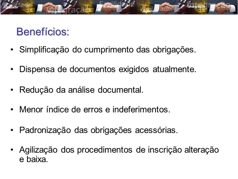 Benefícios: Simplificação do cumprimento das obrigações.