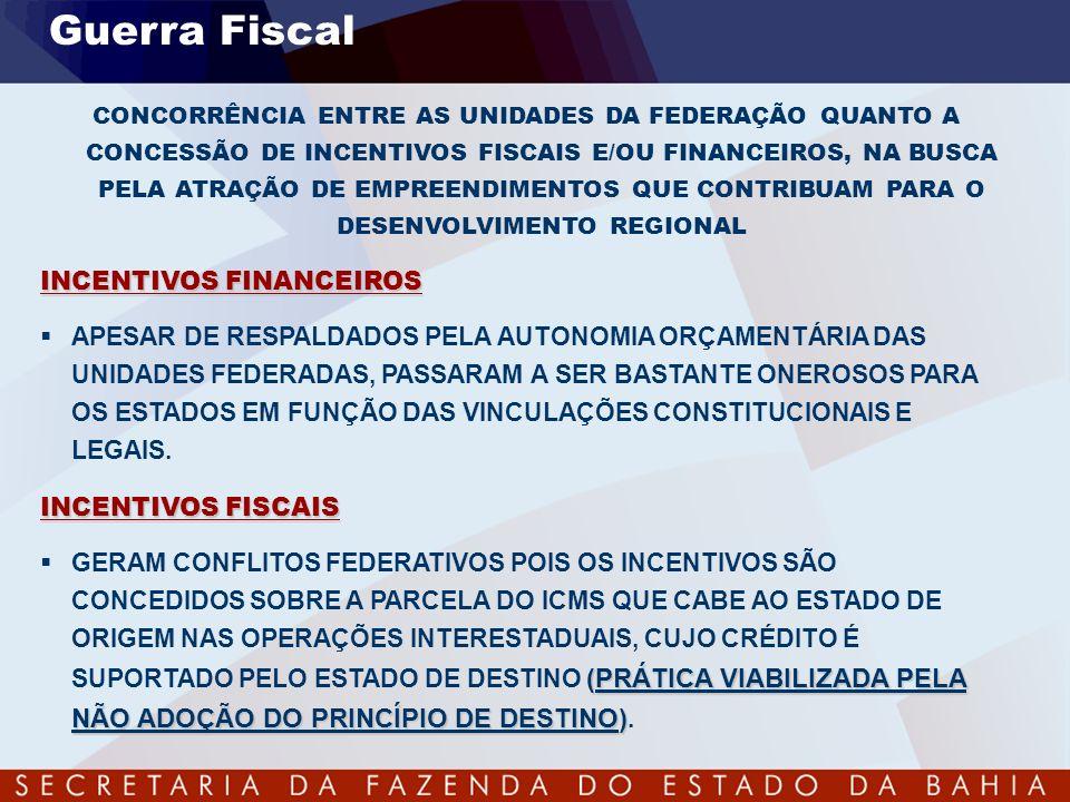 Guerra Fiscal INCENTIVOS FINANCEIROS
