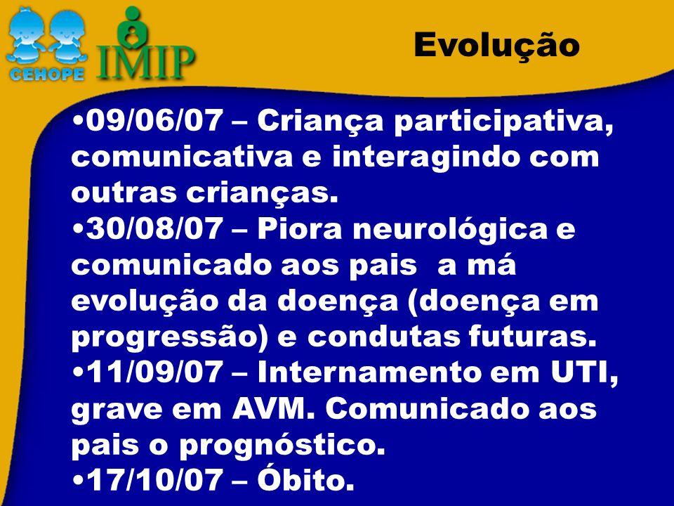 Evolução 09/06/07 – Criança participativa, comunicativa e interagindo com outras crianças.