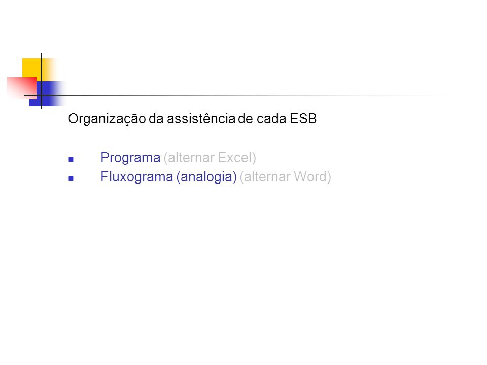 Organização da assistência de cada ESB