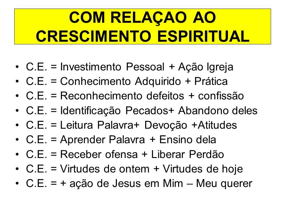 COM RELAÇAO AO CRESCIMENTO ESPIRITUAL
