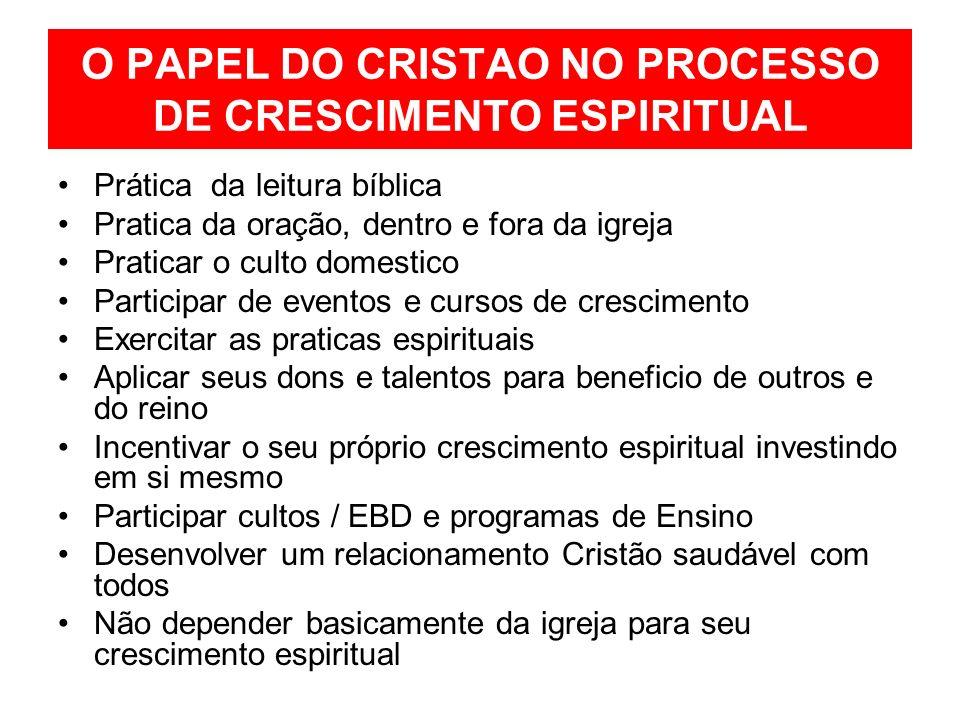 O PAPEL DO CRISTAO NO PROCESSO DE CRESCIMENTO ESPIRITUAL