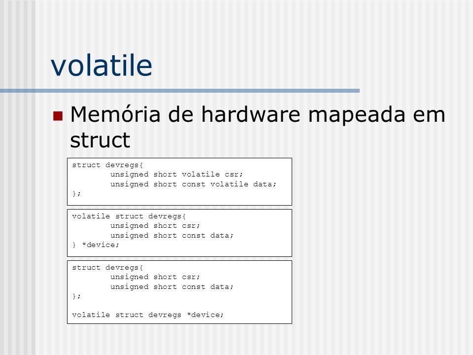 volatile Memória de hardware mapeada em struct struct devregs{