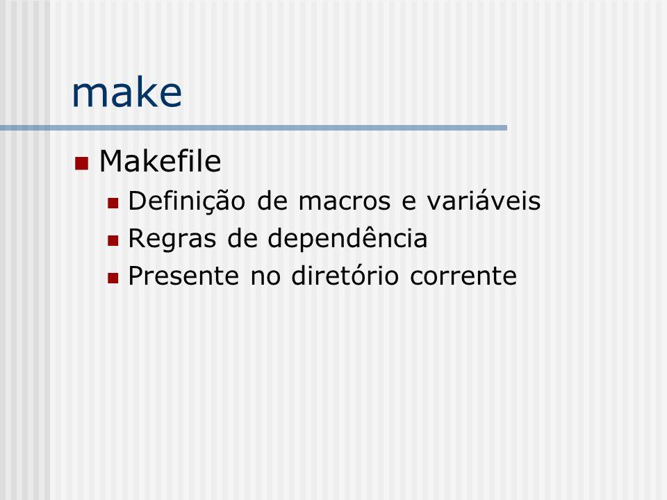 make Makefile Definição de macros e variáveis Regras de dependência