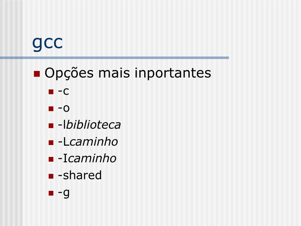 gcc Opções mais inportantes -c -o -lbiblioteca -Lcaminho -Icaminho
