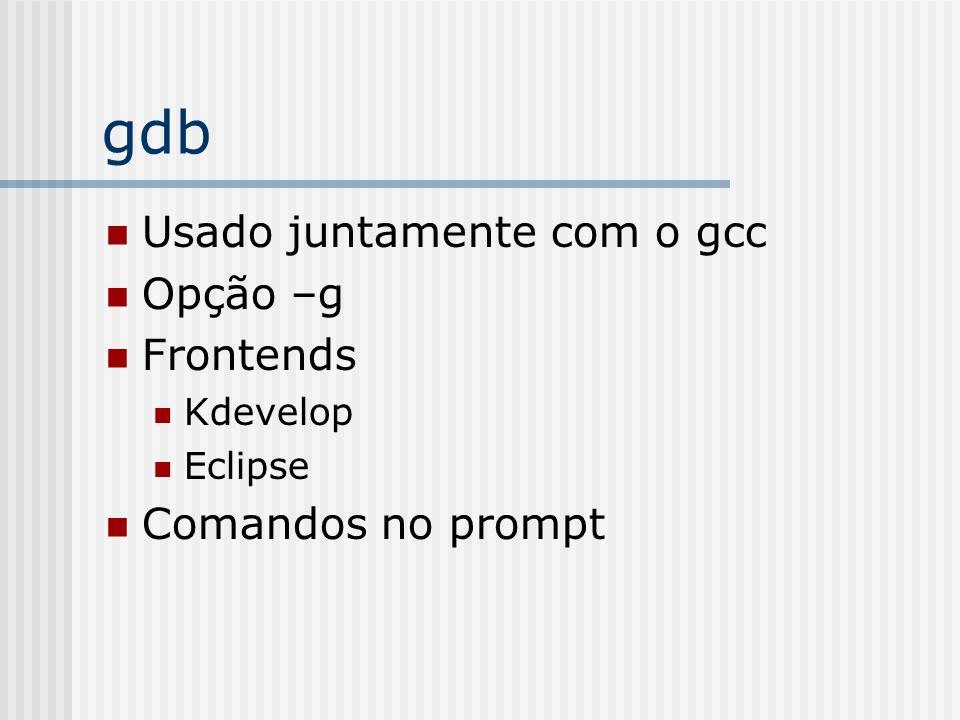 gdb Usado juntamente com o gcc Opção –g Frontends Comandos no prompt