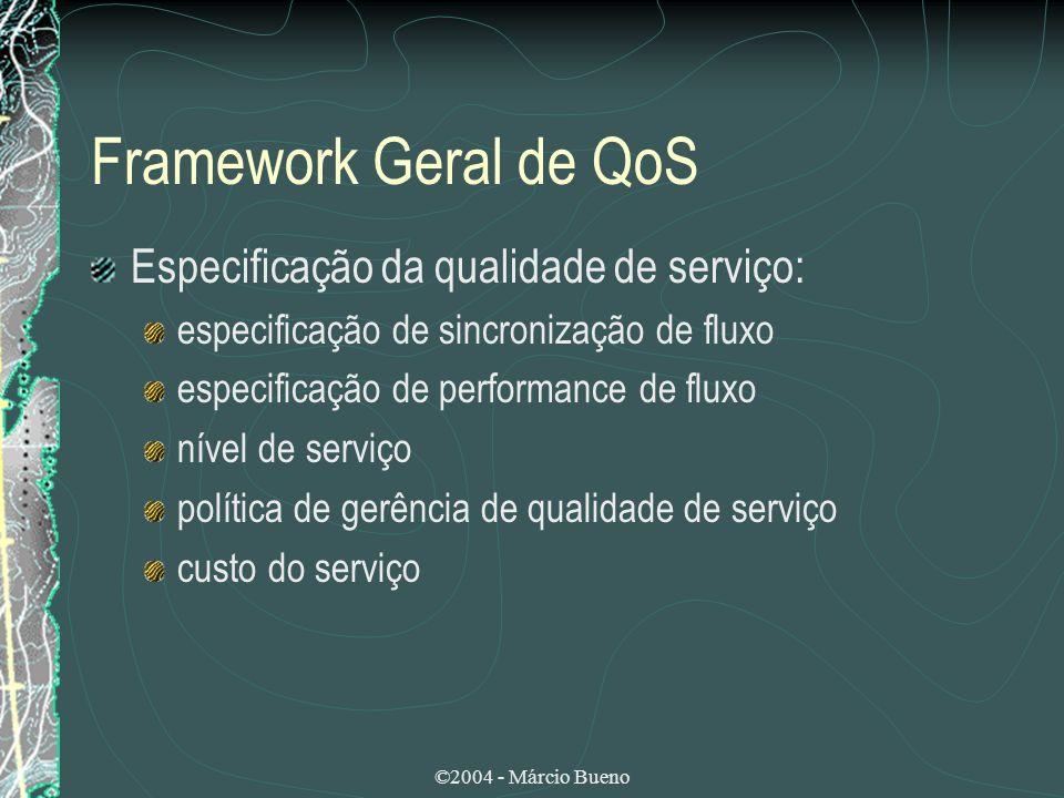 Framework Geral de QoS Especificação da qualidade de serviço: