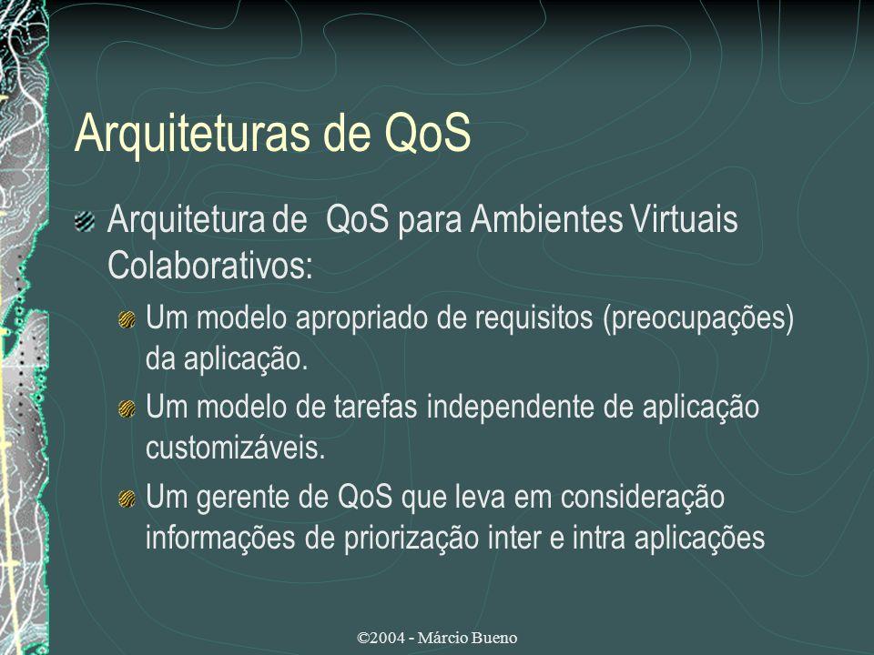 Arquiteturas de QoS Arquitetura de QoS para Ambientes Virtuais Colaborativos: Um modelo apropriado de requisitos (preocupações) da aplicação.