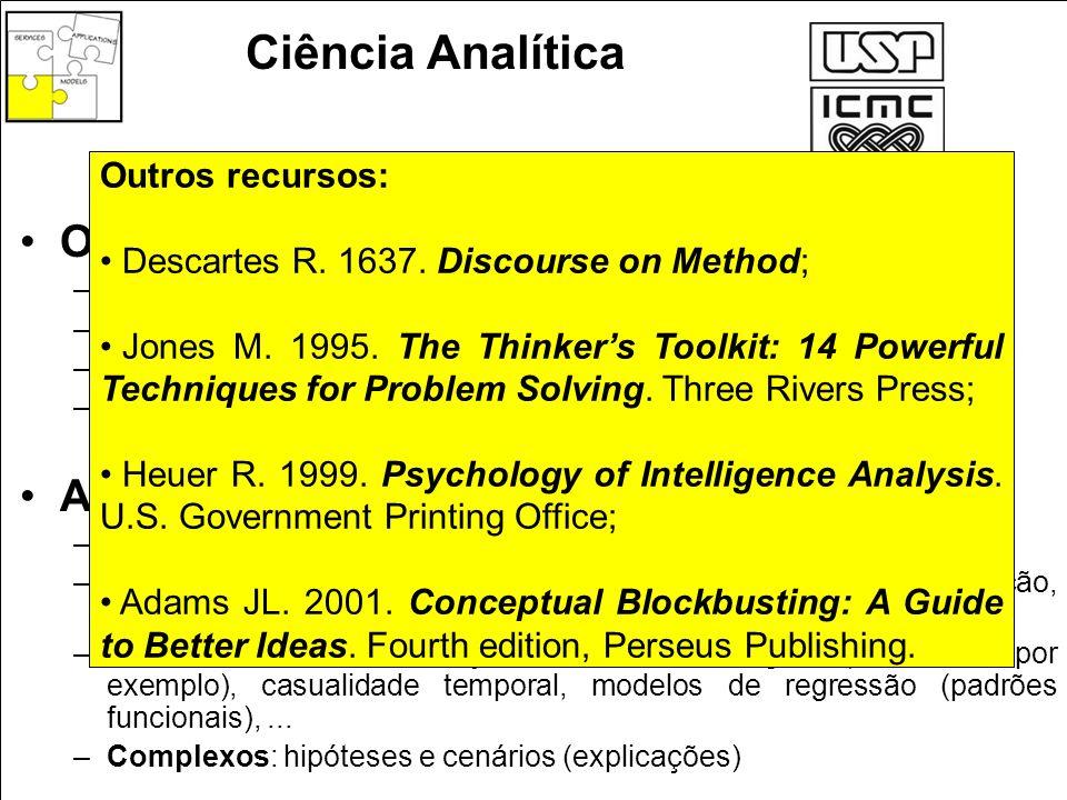 Ciência Analítica Objetivos: Artefatos de racionalização: