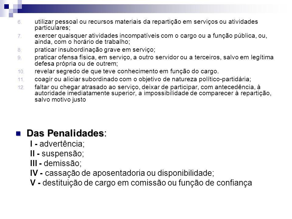 Das Penalidades: I - advertência; II - suspensão; III - demissão;