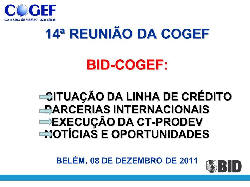 14ª REUNIÃO DA COGEF BID-COGEF: SITUAÇÃO DA LINHA DE CRÉDITO PARCERIAS INTERNACIONAIS EXECUÇÃO DA CT-PRODEV NOTÍCIAS E OPORTUNIDADES BELÉM, 08 DE DEZEMBRO DE 2011
