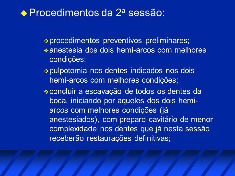 Procedimentos da 2a sessão: