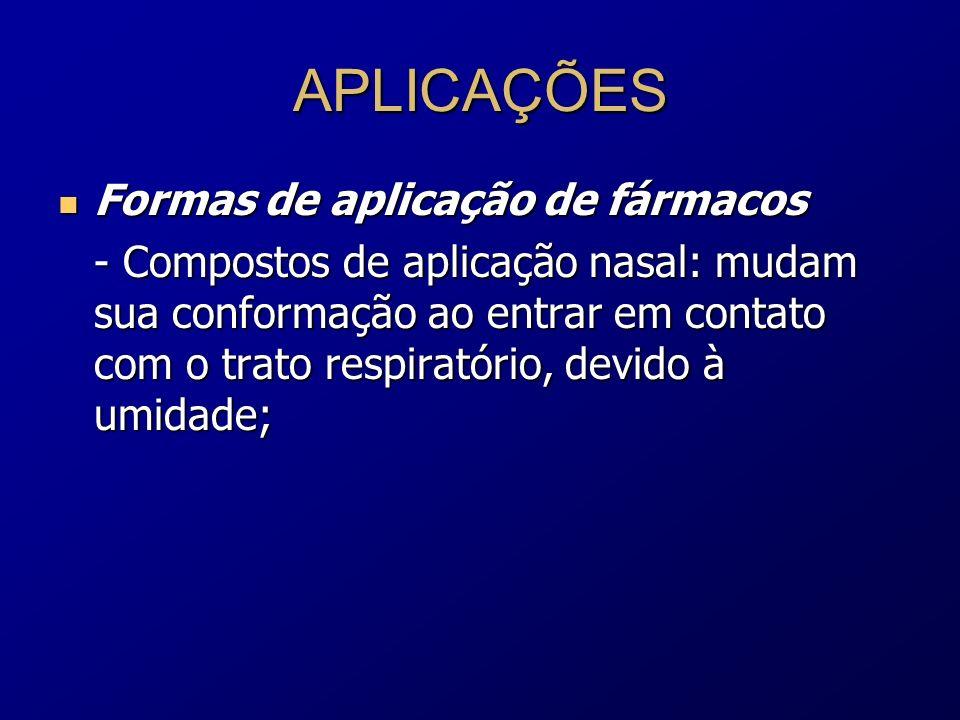 APLICAÇÕES Formas de aplicação de fármacos