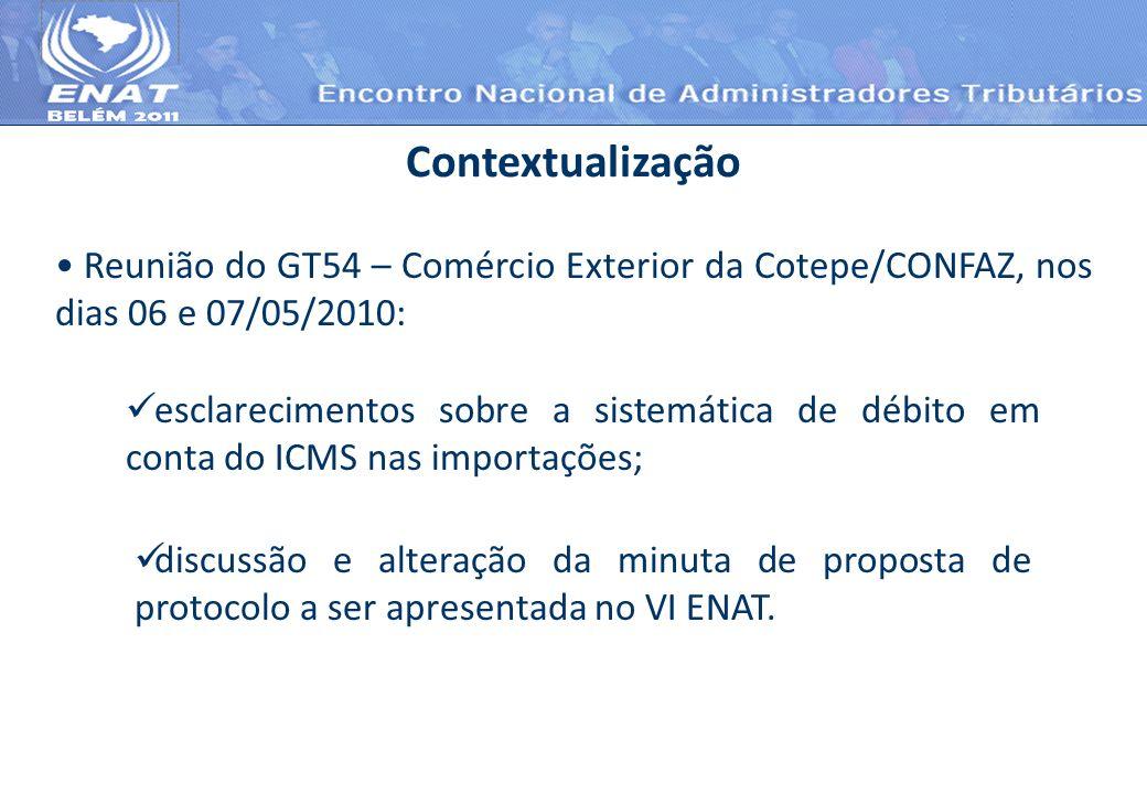ContextualizaçãoReunião do GT54 – Comércio Exterior da Cotepe/CONFAZ, nos dias 06 e 07/05/2010: