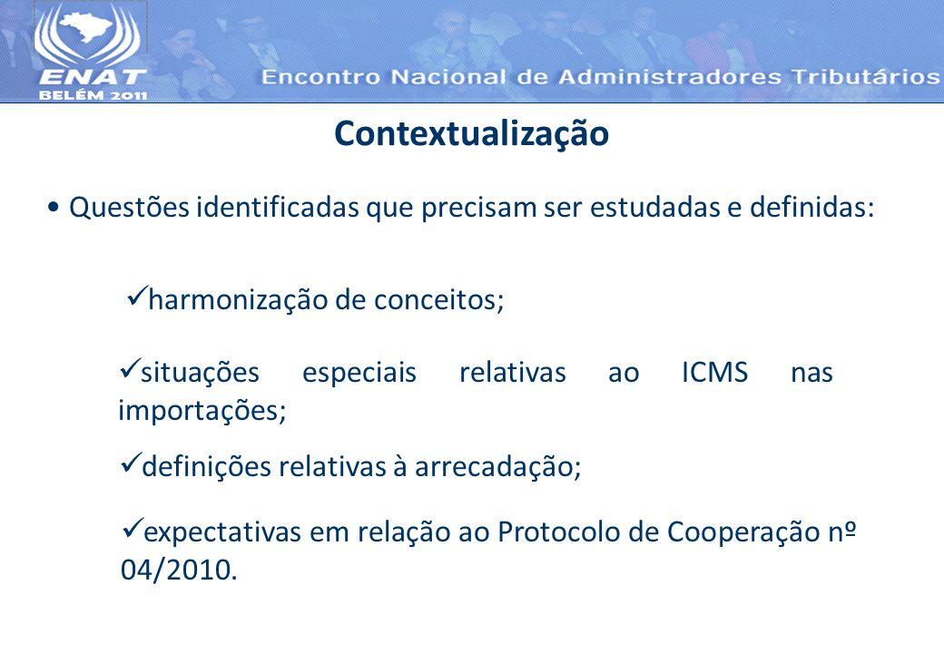 Contextualização Questões identificadas que precisam ser estudadas e definidas: harmonização de conceitos;