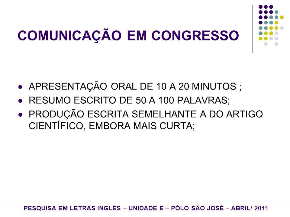 COMUNICAÇÃO EM CONGRESSO