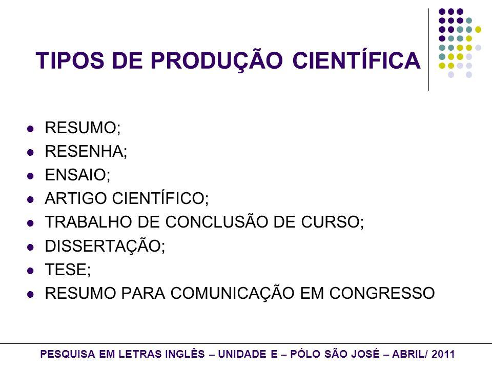 TIPOS DE PRODUÇÃO CIENTÍFICA