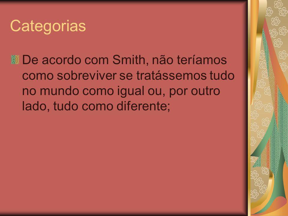 Categorias De acordo com Smith, não teríamos como sobreviver se tratássemos tudo no mundo como igual ou, por outro lado, tudo como diferente;