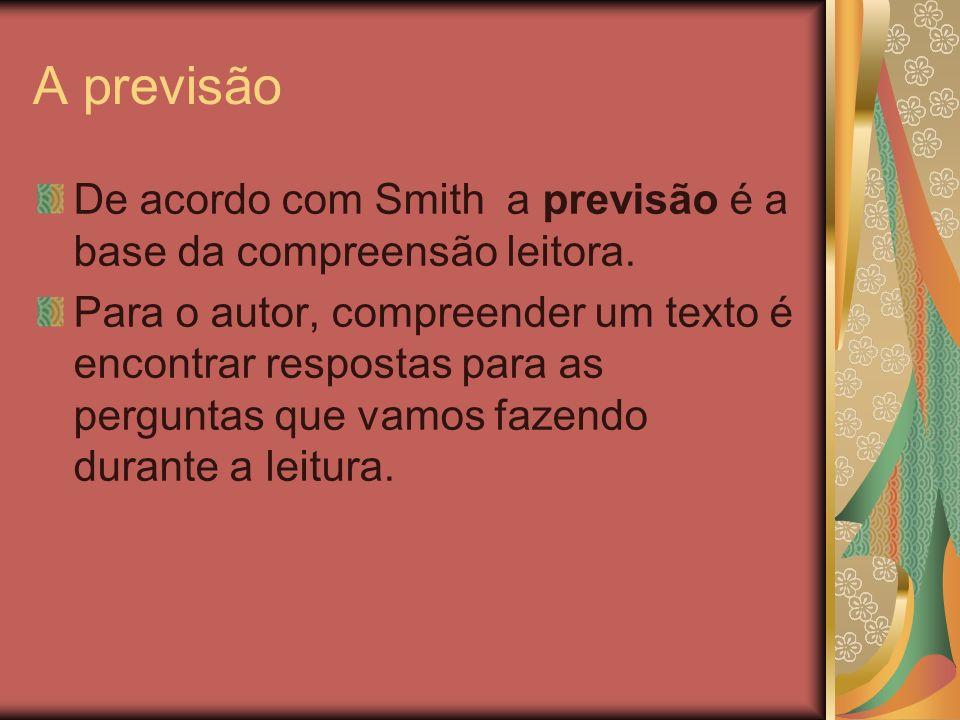 A previsãoDe acordo com Smith a previsão é a base da compreensão leitora.