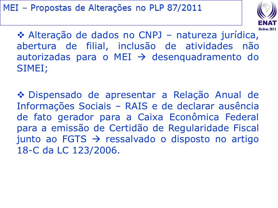 MEI – Propostas de Alterações no PLP 87/2011