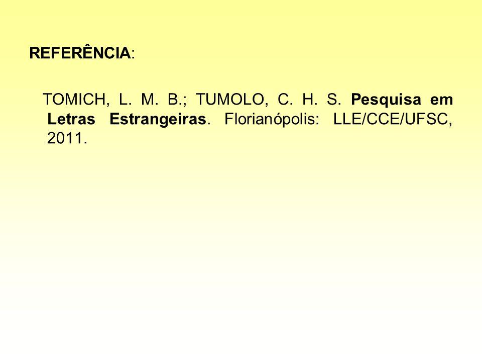 REFERÊNCIA:TOMICH, L.M. B.; TUMOLO, C. H. S. Pesquisa em Letras Estrangeiras.