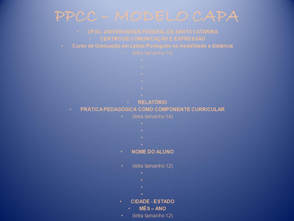 PPCC – MODELO CAPA UFSC- UNIVERSIDADE FEDERAL DE SANTA CATARINA
