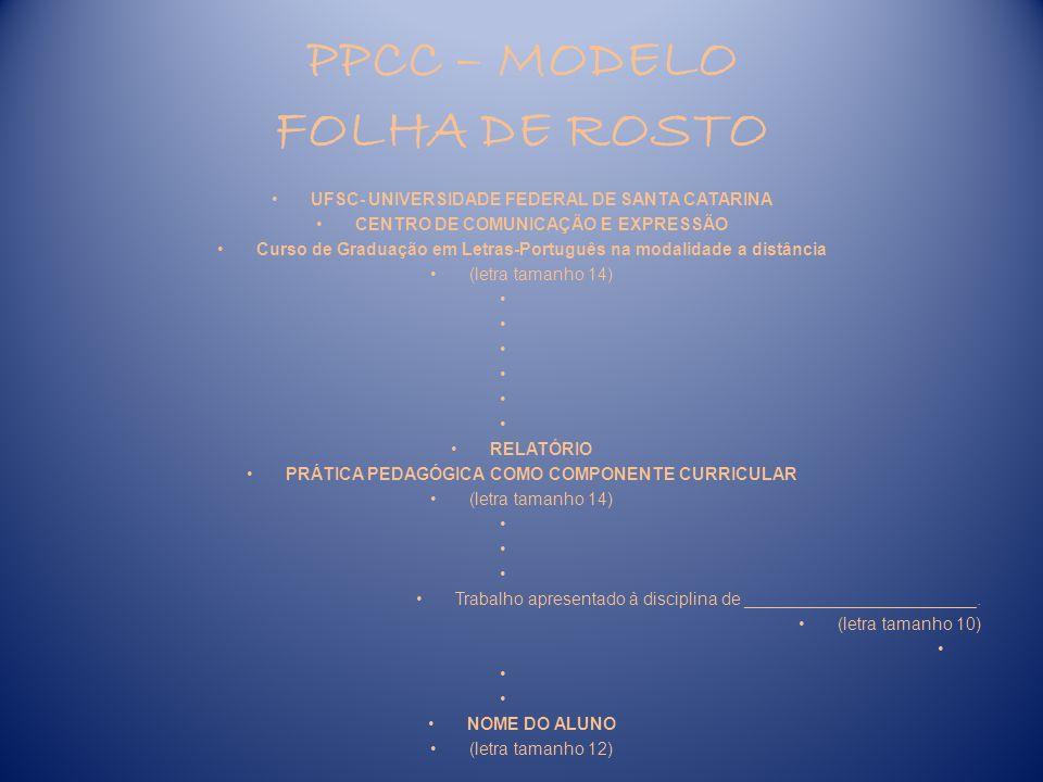 PPCC – MODELO FOLHA DE ROSTO