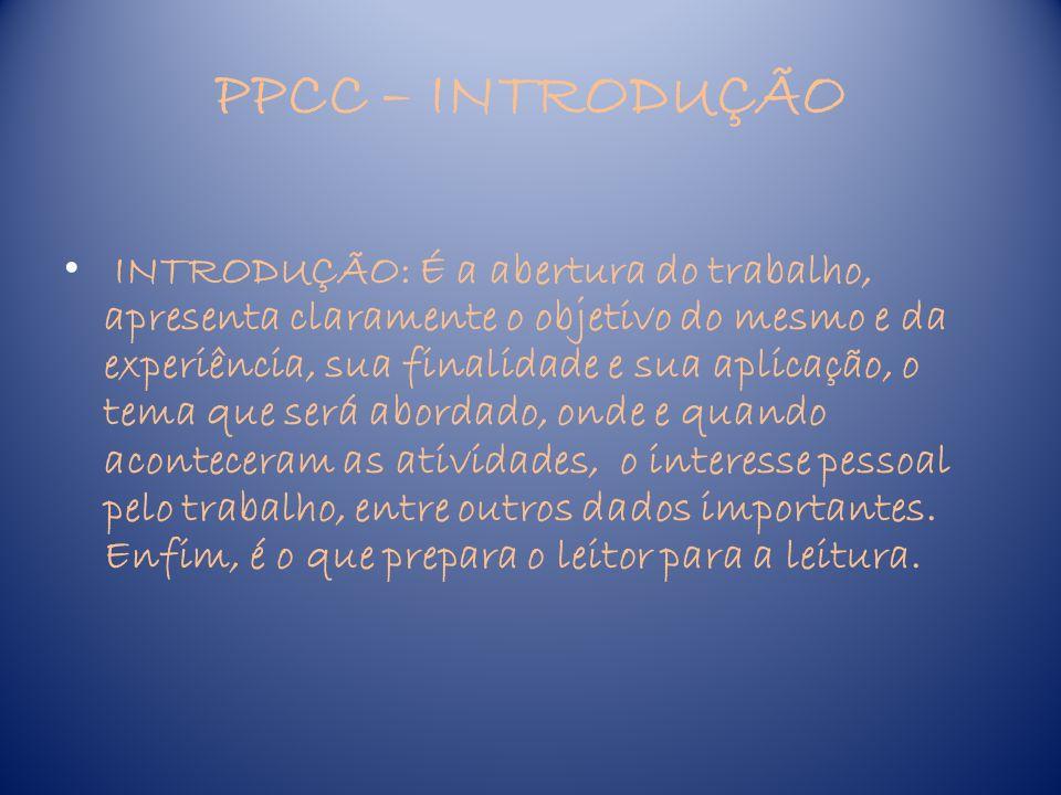 PPCC – INTRODUÇÃO