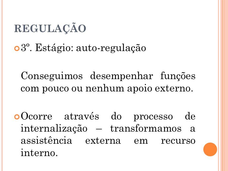 REGULAÇÃO 3º. Estágio: auto-regulação. Conseguimos desempenhar funções com pouco ou nenhum apoio externo.