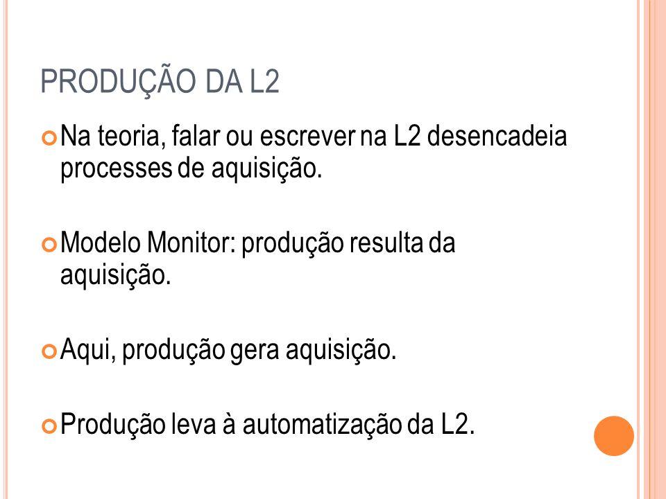 PRODUÇÃO DA L2 Na teoria, falar ou escrever na L2 desencadeia processes de aquisição. Modelo Monitor: produção resulta da aquisição.